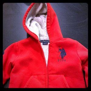 Boys Size 4 Polo Fleece Hooded Jacket